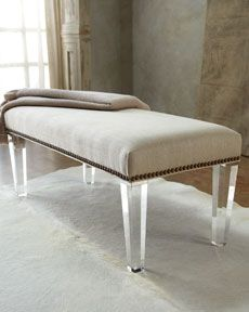 bedroom bench? love the lucite legs - Horchow