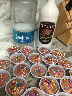 Perfect for the chocolate lover's birthday 1 box sugar free chocolate pudding ¾ cup skim milk ¼ cup chocolate whiskey cream ½ cup cake flavored vodka 1 tub of fat free whipped topping sprinkl… Pudding Shot Recipes, Jello Pudding Shots, Jello Shot Recipes, Alcohol Drink Recipes, Jello Shots, Pudding Cup, Cake Vodka Recipes, Banana Pudding, Dessert Recipes