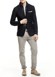 H.E. BY MANGO - Quilted panel wool-blend blazer #SS14 #menswear