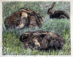 Lisa Hooper - Hares At Stairhaven. Linocut