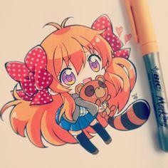 OMG this is from gekkan shoujo nozaki kun! Kawaii Anime, Kawaii Chibi, Cute Chibi, Kawaii Art, Dibujos Anime Chibi, Chibi Anime, Manga Anime, Anime Art, Copic Drawings
