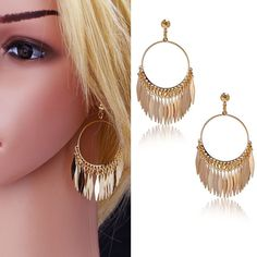 Dangle Earrings Vintage Enthusiasm Style 18K Gold Plated Feather Pendant Classical Drop Earrings For Women Gifts