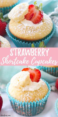 These easy strawberry shortcake cupcakes are light, fluffy, and filled with a whipped cream frosting! All of the flavors of homemade strawberry shortc. Spring Desserts, Easy Desserts, Dessert Recipes, Homemade Cupcake Recipes, Dessert Simple, Spring Cupcakes, Pretty Cupcakes, Easter Cupcakes, Fun Cupcakes