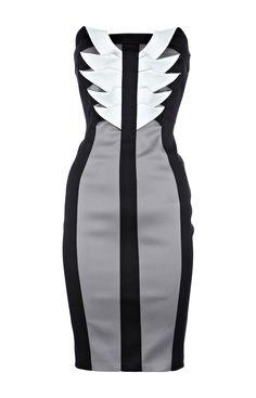 Karen Millen Signature Stretch Satin Dress Black and Grey [#KMM078] - $83.85 :