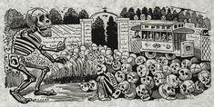 "José Guadalupe Posada: ""Gran calavera eléctrica"" (Grand electric skull) 1900-1913."