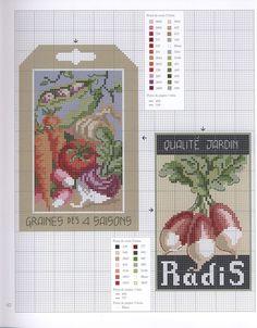 0 point de croix grille et couleurs de fils sac de graines radis