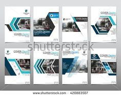 Blue set technology annual report brochure flyer design template vector, Leaflet cover presentation abstract geometric background, layout in A4 size