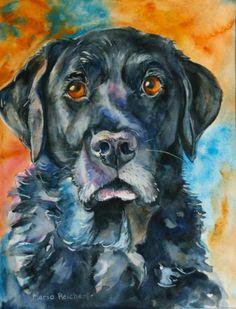Maria's Watercolor: Bosco, Black Lab in Watercolor