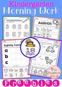 Free Kindergarten Morning Work includes 18 worksheet pages. These pages are great for Preschool, kindergarten and first grade students. Children will practice tracing, writing, sorting, comparing, counting and more. Children are encouraged to use thinking skills while improving their writing and reading skills. Kindergarten | Kindergarten Worksheets | First Grade | First Grade Worksheets | Morning Work | Morning Work Worksheets | Kindergarten Morning Work | Free Lessons