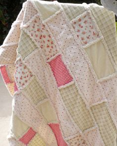 Shabby Vintage - Cottage with Pastels Colors Rag Quilt Summer Quilt SOLD - Crafting For Holidays