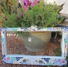 Mosaic Small Shabby Old Window with Vintage China and Stained Glass- Recycled Art