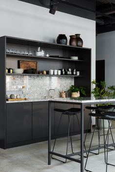 Kitchen - pantry - stone worktop and splashback - dark fronts - open shelving - recessed handles - matching table - steel - stone küchendesign Kitchen Office, Kitchen Interior, New Kitchen, Kitchen Decor, Pantry Office, Office Kitchenette, Kitchen Pantry, Kitchen Cabinets, Cafeteria Design