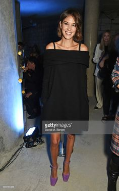 Alexa Chung attends the House Of Holland show during London Fashion Week SS16 at Collins Music Hall on September 19, 2015 in London, England.