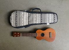 Black and white Ukelele Case with hidden pocket (Soprano size) Custom made on Etsy, $38.00