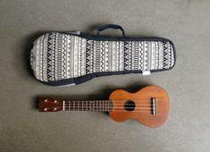 Black and white Ukelele Case with hidden pocket (Soprano size) Custom made on Etsy, $38.00