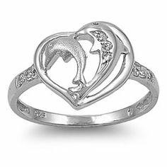 Dolphin Heart CZ Ring