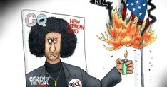 Colin Kaepernick is GQ Magazine Citizen of the year in spite of his ungrateful anti-American demonstrations. Political Cartoon by A.F. Branco ©2017
