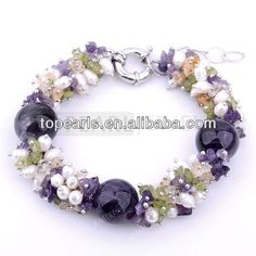 Topearl Jewelry Round 16mm Amethyst, Peridot Chip, White Pearls Bracelet 8inch BJ447369