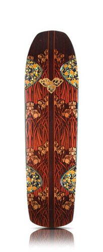 boz boards bozboards custom handmade skateboard japanese paper inlay and floral stencils