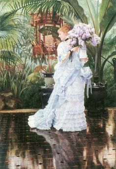 """1875 painting Tissot """"The Lilac Bouquet"""" -lots of froofiness"""