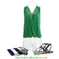 Green & Navy. I'm really starting to not let my dislike of my arms bother me. So wearing sleeveless more :)