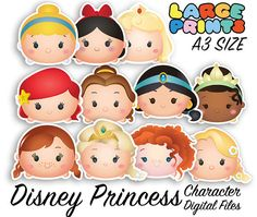 Disney Princess Tsum Tsum Character Digital Large Print Files