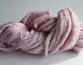 Baby Pink  Color Hand Spun Hand Dyed Thick and Thin Chunky Wool Knitting Yarn