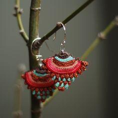 Sterling silver and crochet earrings