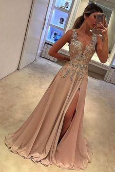 Customized Beautiful Prom Dress With Appliques Sexy Prom Dress,Deep V Neck Prom Dresses With Split Side,Appliques Prom Gowns,A Line Prom Gown,Long Prom Dress Split Prom Dresses, V Neck Prom Dresses, Unique Prom Dresses, Satin Dresses, Homecoming Dresses, Pretty Dresses, Dresses Dresses, Prom Gowns, Chiffon Dresses