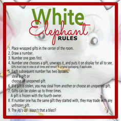 It is a photo of Challenger White Elephant Rules Printable