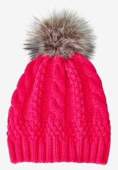 It's the perfect cool-weather accessory: a warm knit hat with a pom-pom and classic cable knit pattern for that timeless look.  one size fits all rib knit band for comfort and a secure fit imitation-fur 2-toned pom pom soft, washable acrylic knit imported  The Comfort FactorOur styles are designed with you in mind using plus size models to ensure sizing, proportions & comfort. We've been refining our measurements for over 100 years so you can be confident the fit will be just…