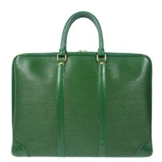 Guys you need this !! Vintage ever green soft leather briefcase these epi bags are so hard to get only $599 retail about $1800 perfect fall bag :D