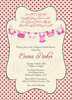 hanging bras custom lingerie bridal shower or bachelorette party invitation dark light pink