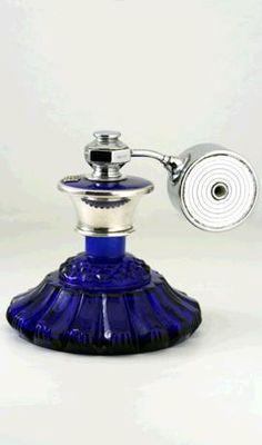 Moulded Cobalt Glass Scent Perfume Atomizer Spray With Cobalt Guilloche Top Perfume Atomizer, Antique Perfume Bottles, Vintage Bottles, Blue Perfume, Beautiful Perfume, Cobalt Glass, Cobalt Blue, Bottle Art, Diy Bottle
