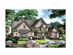 English Cottage House Plan with 3162 Square Feet and 5 Bedrooms(s) from Dream Home Source | House Plan Code DHSW69204