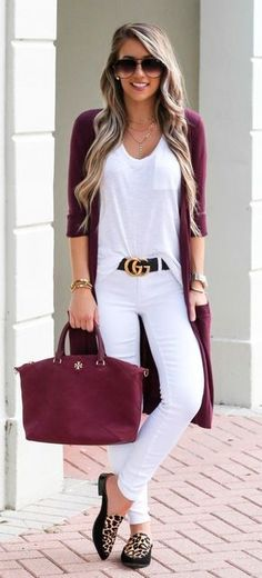 #fall #outfits women's red cardigan, red leather handbag, white shirt and pair of white pants