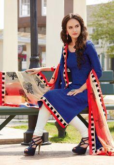 Blue Art Bhagalpuri Silk Churidar #salwar Kameez