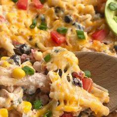 Fiesta Chicken Pasta Casserole chicken casserole is filled with chunks of chicken, tender pasta, corn, black beans, all in a one dish cheesy chicken casserole. Sweet Corn Casserole, Cheesy Chicken Casserole, Dinner Casserole Recipes, Pasta Dinner Recipes, Hamburger Casserole, Best Seafood Recipes, Mexican Food Recipes, Mexican Entrees, Yummy Recipes