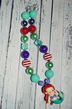 Disney Princess Ariel Little Mermaid Inspired Chunky Bubblegum Bead Necklace- Baby Girl Necklace- Toddler Girl Necklace- Kids Jewelry