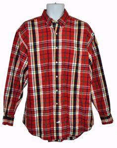 Ralph Lauren The Big Shirt Mens Red Plaid Long Sleeve Button Down Cotton Size L #RalphLauren #ButtonFront