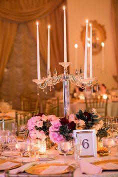 Photography by Leandra; glamorous ballroom wedding reception centerpiece idea;