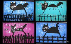 Paintbrush Rocket: Kindergarten Art Spooky Black Cats