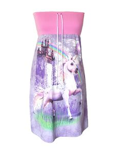 Unicorn Rainbow Castle Medieval Fantasy Tie Dye Hippie Strapless Tube Dress by IDILVICE - so wrong, and yet so cute...