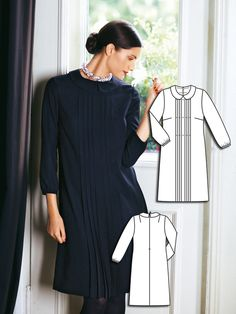 Dress with Peter Pan Collar and Pin Tucks Burda Oct 2011 #115 Pattern: http://www.burdastyle.com/pattern_store/patterns/dress-with-peter-pan-collar-and-pin-tucks-102011