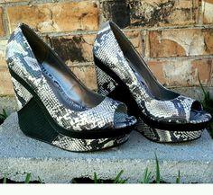 Women High Heel's Wedge Faux Snakeskin Micheal Antonio Platforms Open-Toe Shoes  | Clothing, Shoes & Accessories, Women's Shoes, Heels | eBay!