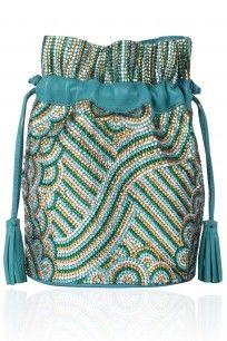 Turquoise And Gold Embellished Swarovski Stones Poltli Bag #potlibag #swarovski #turquoiseandgold #embellishment #Jasbirgill #perniaspopupshop #happyshopping