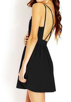 Black Crisscross Cutout Back Dress