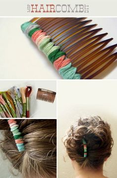 DIY Hair Accessories. Hair comb with embroidery thread twisted around it.