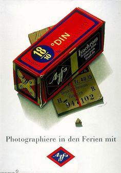 Ancienne publicité (1944) pour la pellicule #Agfa Isochrom, par l'illustrateur suisse Herbert Leupin. #photographie #photography #vintage