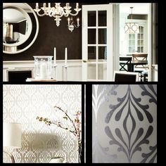 Dining room on pinterest dining rooms black walls and - Dining room wallpaper accent wall ...